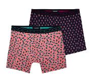 Scotch & soda 2-PACK MOTIF BOXERSHORT FRUITS & FLOWERS (Paars, Roze, Extra large)