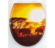 Eisl WC-Bril ED69AFRICA - Thermoplastiek - Soft Close - Afklikbaar - RVS-Scharnieren - Decor -3-zijdige Print - Africa
