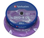 Verbatim DVD+R Double Layer 8x Matt Silver 25pk Spindle 8.5GB DVD+R DL 25stuk(s)