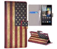 Carryme Amerikaanse vlag bookcase hoesje Huawei Ascend P6