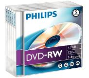 Philips DVD-RW Philips 4.7GB 5pcs jewel case 4x foil