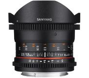 "Samyang 12mm T3.1 VDSLR 4/3 SLR Groothoeklens type ""fish eye"" Zwart"