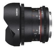 "Samyang 8mm T3.8 VDSLR UMC Fish-eye CS II, Sony E SLR Groothoeklens type ""fish eye"" Zwart"
