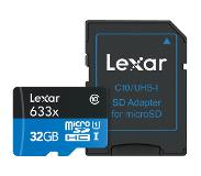 Lexar High Speed 32GB 633x micro SDHC-kaart + adapter