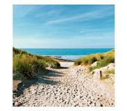 Home affaire Glazen artprint, Artland, 'Beach with sand dunes and a path to the sea', in 3 afmetingen, vanaf afm. 30x30 cm