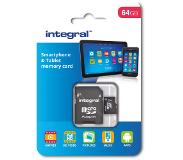 Integral geheugenkaart microSDXC + adapter 64 GB