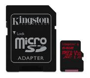 Kingston microSDXC Canvas React 64GB 100 MB/s + SD Adapter