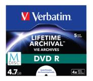 Verbatim M-DISC DVD+R 4x 4.7GB Inktjet Printable 5-Pack