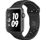 Apple Watch Series 3 Nike+ 42 mm Aluminium kast Sportband Antraciet, Zwart