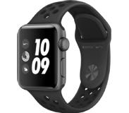 Apple Watch Series 3 Nike+ 38 mm Aluminium kast Spacegrijs Sportband Antraciet, Zwart