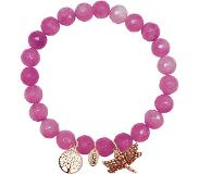 CO88 Collection Armband met bedels levensboom/libelle rosé/roze 8CB-90005