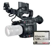Canon EOS C200 EF-mount Cinema Camera with grip, viewfinder and monitor + Sandisk CFast 128GB 525 MBs