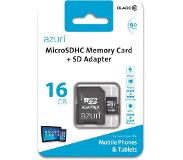 Azuri 16GB micro SDHC card class 10 - Tot en met 90MB/s met SD-adapter