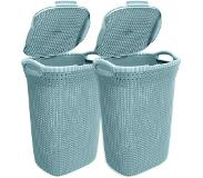 Curver Knit wasbox - 57 liter - misty blue - set van 2