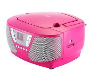 Bigben Interactive CD60 Kinder-CD-Radio met stickers (roze)