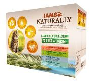 Iams Naturally Cat Wet Land & Sea Vlees Vis 12x85 g