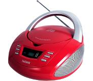 Denver TCU-211RED cd-speler Personal CD player Rood, Zilver