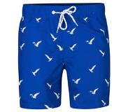 We fashion zwemshort in all over print blauw Kobaltblauw/wit XL