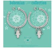 Heart to Get BO222CWH14S Creoles With Hamsa Charm & Turqoise Gemstones Bohemian Love Collection Silver