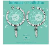 Heart to Get BO224CHE14S Creoles With Feather Charm & Turqoise Gemstones Bohemian Love Collection Silver