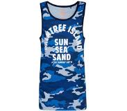 We fashion singlet met camouflageprint en tekst blauw Blauw 146/152