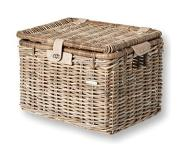 Basil DENTON L Voorkant Bicycle basket Rotan, Riet Grijs 46 l