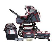 OTTO Bergsteiger combi-kinderwagen, 10-delig, »Rio, grey & red stripes, 3in1«