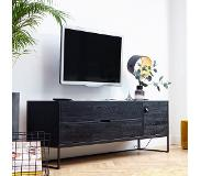 WOOOD Exclusive WOOOD TV-meubel 'Silas' Eiken 180cm, kleur geborsteld Blacknight