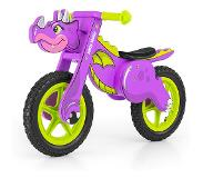 Milly Mally loopfiets Wooden Dino 12 Inch Junior Paars/Groen