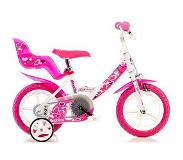 "Dino Bikes Pink 12"" Dames All-round 12"" Metaal Roze, Wit fiets"