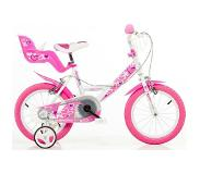 "Dino Bikes Little Heart 16"" Dames All-round 16"" Metaal Roze, Wit fiets"