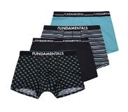 We fashion Fundamental boxershort (set van 4) Zwart/blauw M