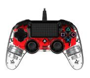 Nacon PlayStation 4 official wired compact LED controller rood Rood, Transparent