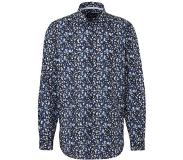 C&A slim fit overhemd met all over print donkerblauw/wit Donkerblauw/wit S