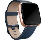 fitbit Versa Acc band leder midnight blauw large