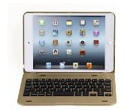 Shop4 - iPad Mini 4 Toetsenbord Hoes - Bluetooth Keyboard Cover Aluminium Goud
