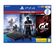 Sony Playstation 4 500GB + Horizon Zero Dawn, Uncharted 4 en Gran Turismo