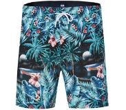We fashion zwemshort met all over print blauw Blauw/groen S