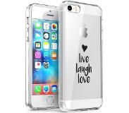 IMoshion Design hoesje voor de iPhone 5 / 5s / SE - Live Laugh Love - Zwart