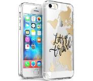 IMoshion Design hoesje voor de iPhone 5 / 5s / SE - Let's Go Travel - Zwart / Goud