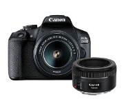 Canon EOS 2000D Body + 18-55mm + 50mm - Zwart