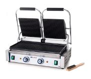 Hendi Dubbele Contactgrill Professional - Gegroefd - Grilloppervlakte: 47,5x23cm