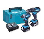 Makita DLX2131TJ 18V combiset DHP482 accu klopboormachine + DTD152 slagschroevendraaier (2x 5.0Ah accu) in Mbox