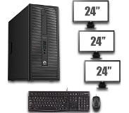 HP ProDesk 600 G1 Tower - Intel Pentium G3220 - 4GB - 500GB HDD + Dual 3x 24'' Widescreen LCD
