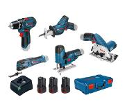 Bosch 5 Toolkit 12V - accuboor + cirkelzaag + decoupeerzaag + reciprozaag + multitool 12V 3 x 3.0Ah in XL-Boxx 0615A0017C