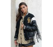 Colourful Rebel Sen Fringe Baseball Bomber Black