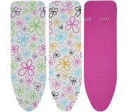 Leifheit Cotton Classic M Ironing board padded top cover Katoen Roze, Wit