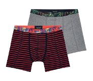 Scotch & soda 2-PACK MOTIF BOXERSHORT STRIPES AND PALMS, Large (Grijs, Rood, Large)
