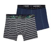 Scotch & soda 2-PACK MOTIF BOXERSHORT STRIPES AND PALMS (Black, Navy, Grijs, Medium)
