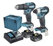 Makita Accuklopboor/schroefmachine, Accuslagmoersleutel Makita DLX2221JX2 incl. 2 accus, incl. koffer 18 V 3 Ah Li-ion